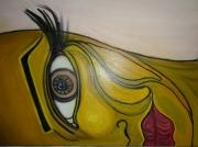 tableau personnages acrylique beaute femme visage : Demie, moitie