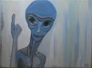 tableau personnages bleu original toile humour : E.T'C