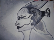 tableau personnages noir et blanc femme poisson mythique : Femme poisson