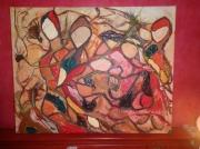 tableau abstrait abstrait mouvement personnage formes : Abstrart
