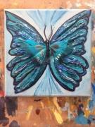 tableau animaux papillon animaux bleu magnifique : Butterbluefly