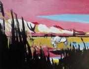 tableau paysages carmargue alpilles horse taureaux : Des Alpilles de Crau