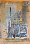 mixte abstrait acrylique mixte abstrait : lettre4