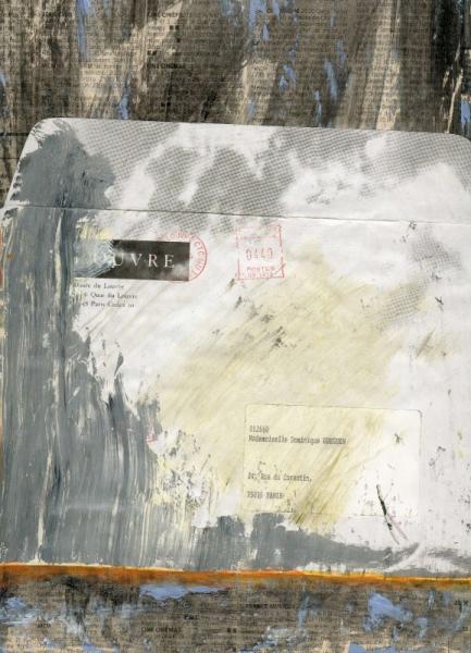 MIXTE collage acrylique enveloppe journal Abstrait  - lettre 2
