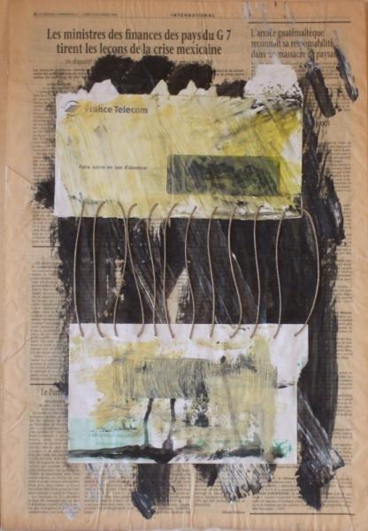 MIXTE acrylique abstrait enveloppe collage Abstrait  - lettre6