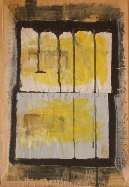 MIXTE acrylique abstrait collage Abstrait  - lettre5