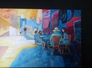 tableau personnages scene de bar dans la rue ville : Scène de rue