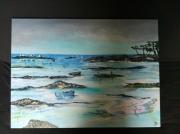 tableau paysages peche ,a pied maree basse bretagne : Marée basse