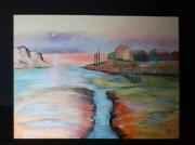 tableau paysages charentemaritime la tremblade composition : Coucher de soleil