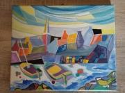 tableau villes bretagne marine port cubisme : Port breton