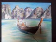 tableau marine vietnam baie d halong bateau moteur typique : Bateau