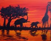 tableau animaux afrique peinture animaux paysage : Suivre