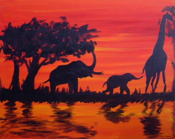 TABLEAU PEINTURE Afrique peinture Animaux Paysage Animaux Acrylique  - Suivre