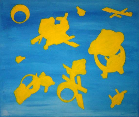 TABLEAU PEINTURE Abstrait bleu toile peinture Abstrait Acrylique  - Règle du jeux Bleu& jaune