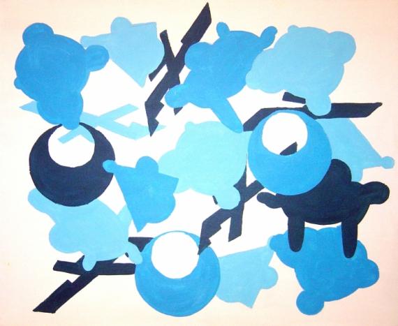 PAINTING Abstrait bleu peinture toile Abstrait Acrylique  - Règle du jeux Bleu&Blanc