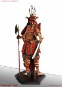sculpture personnages japon guerrier tradition collection : SAMOURAÏ ROUGE