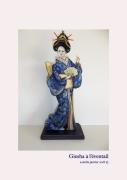 sculpture personnages japon traditionnel femme ambiance : GEISHA à l'éventail