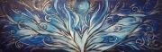 tableau abstrait feminin sacre : La vague bleue
