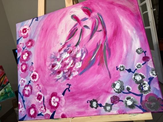 TABLEAU PEINTURE Amour Primptemp Danse Tendresse Scène de genre Acrylique  - Tendresse rosée