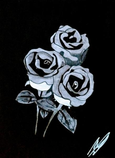 TABLEAU PEINTURE Rose Amour Symbolique Fleurs Acrylique  - 3...je t'aime