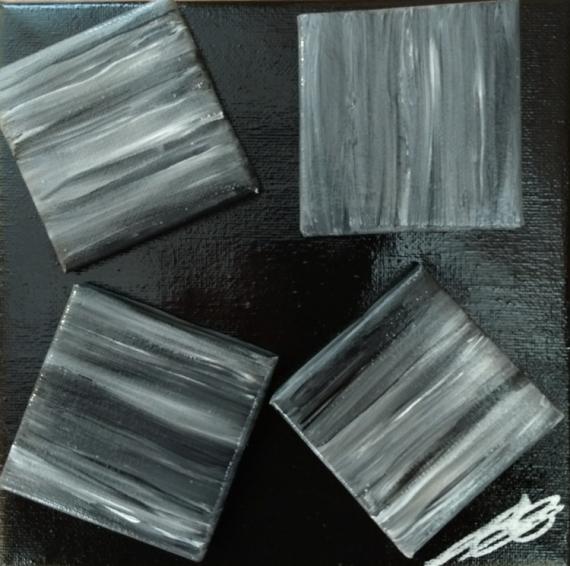 TABLEAU PEINTURE Egalité noir et blanc Abstrait Acrylique  - Tous differents et pourtant semblables