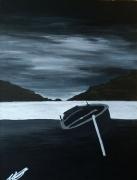 tableau paysages bateau ciel montagne nuit : Ecouée