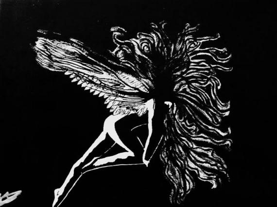 TABLEAU PEINTURE ange noir sensuel Acrylique  - L'ange échevelé