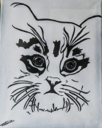 tableau animaux chat noir et blanc felin technique mixte : chaton masqué