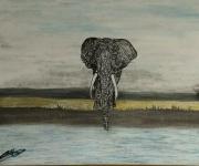 tableau animaux elephant aquarelle savane solitaire : Pachyderme venu d'ailleurs