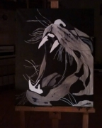tableau animaux oslo felin monochrome technique mixte : oslo