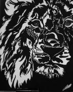 tableau animaux lion felin monochrome technique mixte : léo