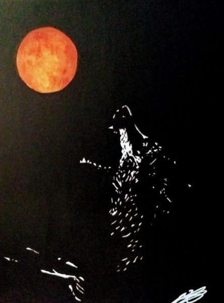 TABLEAU PEINTURE lune loup oeuvre unique Animaux Acrylique  - Quand rousse sera la lune...