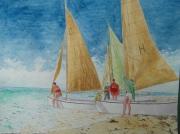 tableau marine mer voilier plage : Ecole de voile
