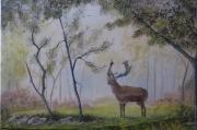 tableau animaux cerf arbre bois chasse : cerf au petit matin