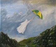 tableau personnages moine chartreux parapluie vent montagne : souffle de chartreuse