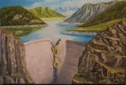 tableau paysages beton eau foret ciel : fragilité des barrages