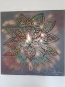 tableau animaux lion fluo abstrait imaginaire : Grrrr