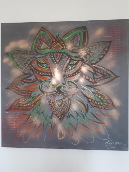 TABLEAU PEINTURE Lion Fluo Abstrait Imaginaire Animaux Acrylique  - Grrrr