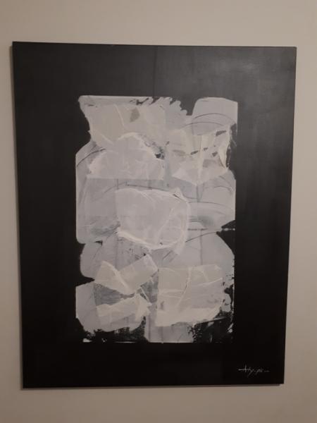 TABLEAU PEINTURE Papier Gris Blanc  - Papier