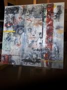 painting abstrait matieres ecritures bandes pochoirs : Fait de ta vie...