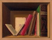 tableau nature morte etagere trompe l'œil livres anciens : Les livres anciens
