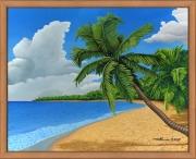 tableau paysages plage caraibes cocotiers nuages : La plage