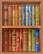 tableau nature morte trompe l'œil bibliotheque auteurs litterature : La bibliothèque classique
