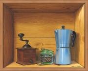 tableau nature morte trompe l'œil petit dejeuner moulin ,a cafe cafetiere italienne : La cafetière italienne