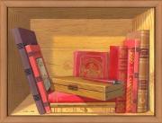 tableau nature morte trompe l oeil bibliotheque plumier livres : La bibliothèque au plumier
