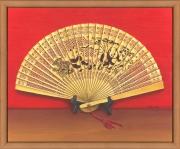 tableau nature morte eventail chinois bambou trompe l'œil : L'éventail chinois
