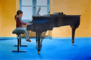 tableau personnages pianiste piano entrainement fenetre : La jeune pianiste