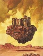 tableau paysages desert fantastique chateau volant : Le château volant