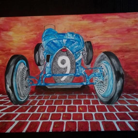 TABLEAU PEINTURE Ducatti voiture ancienne Ducatti sport type 3 Acrylique  - Ducatti sur pavé