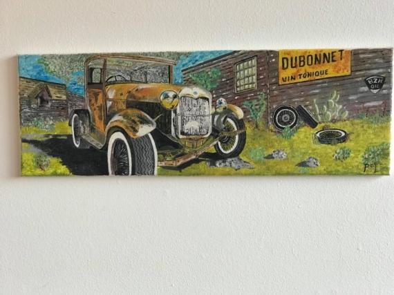 TABLEAU PEINTURE voiture ancienne BD  - Dubonnet car